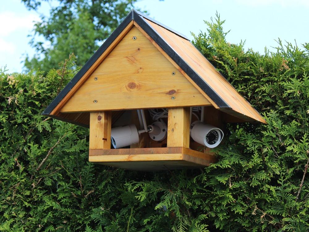 Vogelhaus mit Überwachungskameras