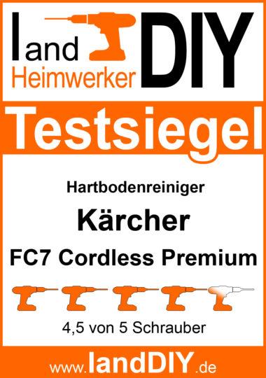 Testsiegel Hartbodenreiniger Kärcher FC7 Cordless Premium